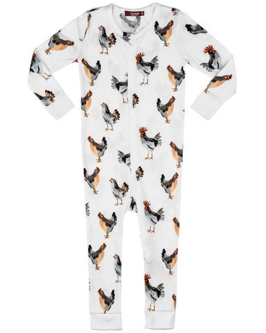 Milkbarn Chickens Organic Cotton Zipper Pajamas