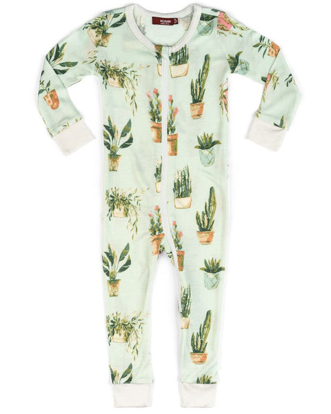 Milkbarn Potted Plant Bamboo Zipper Pajamas