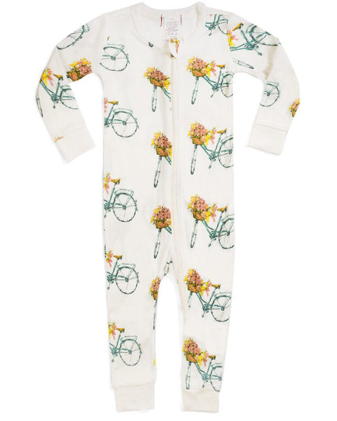 Milkbarn Floral Bicycle Bamboo Zipper Pajamas
