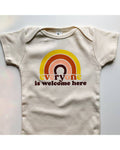 Everyone Is Welcome Here Organic Baby Onesie