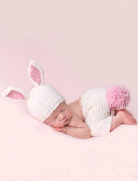 Gray or Pink Bunny Newborn Knit Set