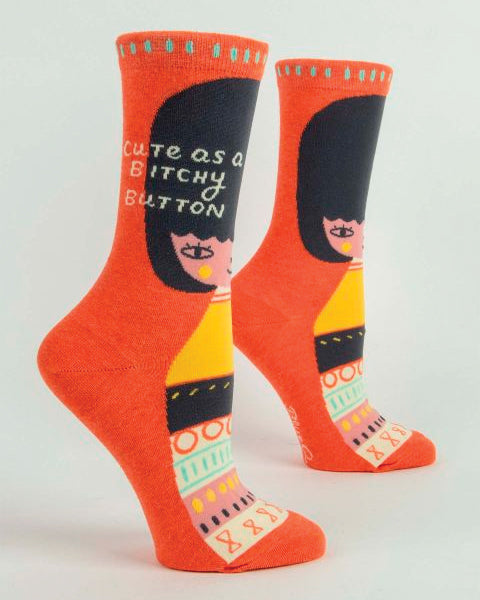 Cute As a Bitchy Button Women's Crew Socks