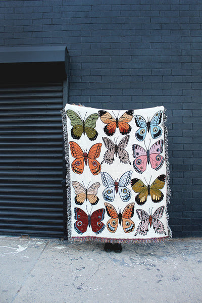 Butterfly & Moth Cotton Throw Blanket