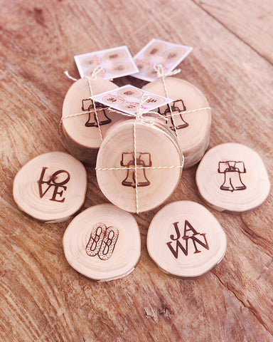 MasonMade Assorted Philly Wood Coaster Set