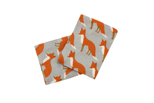 Fox Print Organic Burp Cloths