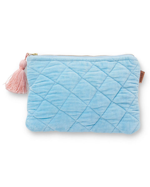 Kip & Co. Quilted Velvet Cosmetic Pouch- Crystal Blue