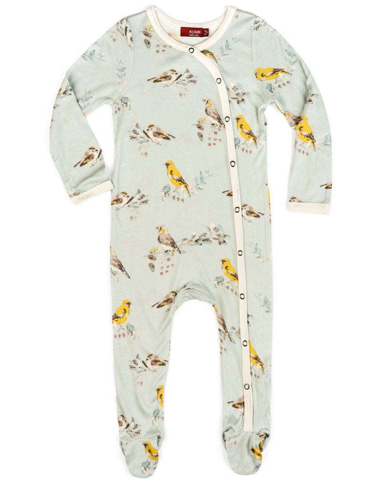 Milkbarn Bamboo Blue Bird Footed Romper