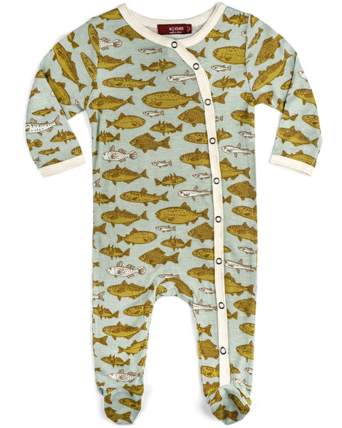 Milkbarn Bamboo Fish Footed Romper
