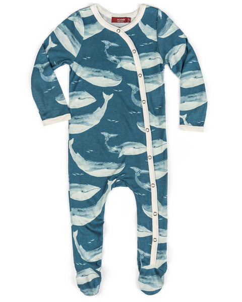 Milkbarn Bamboo Blue Whale Footed Romper
