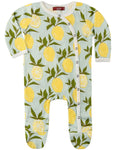 Milkbarn Organic Cotton Lemons Footed Romper