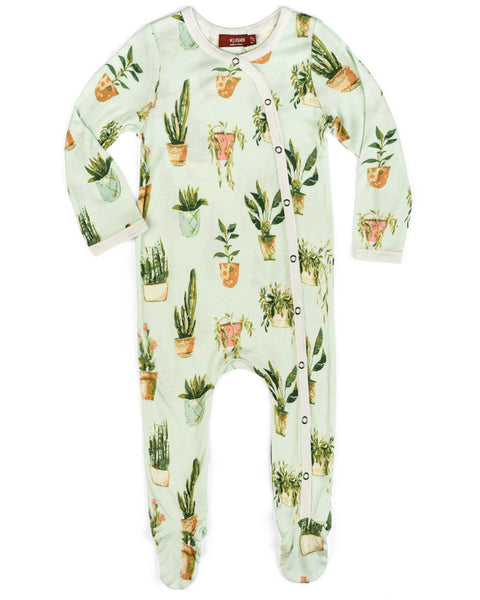 Milkbarn Bamboo Potted Plant Footed Romper