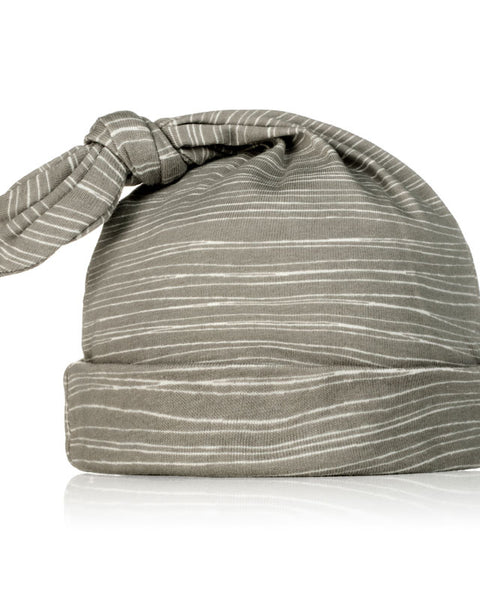 Milkbarn Organic Cotton Knotted Hat Grey Stripe