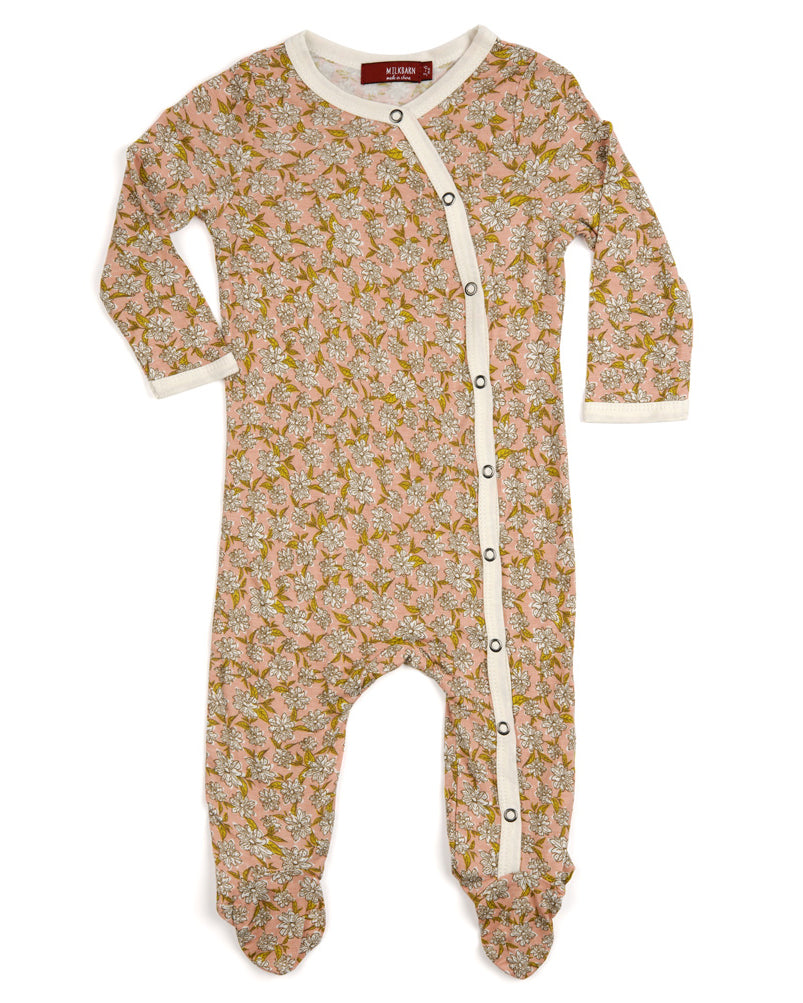 Milkbarn Bamboo Rose Floral Footed Romper