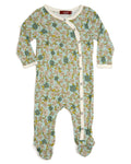 Milkbarn Bamboo Teal Floral Footed Romper