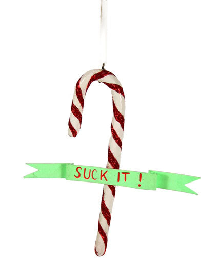 Suck It Candy Cane Ornament