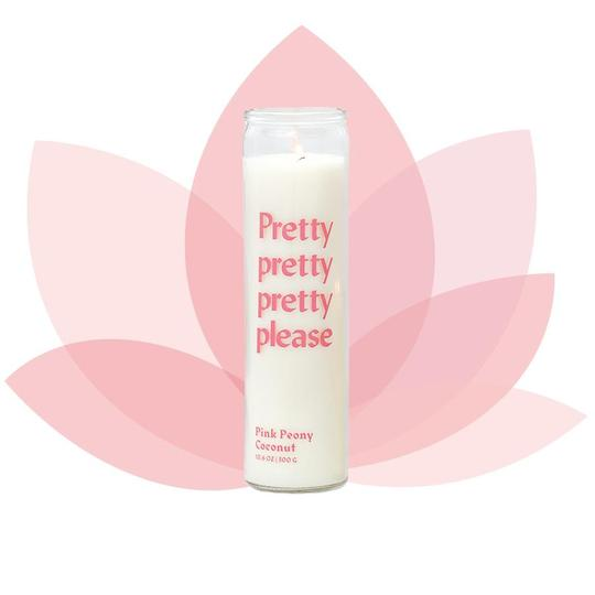 "Paddywax Large Spark Prayer Candle- ""Pretty Please"" Pink Peony Coconut"