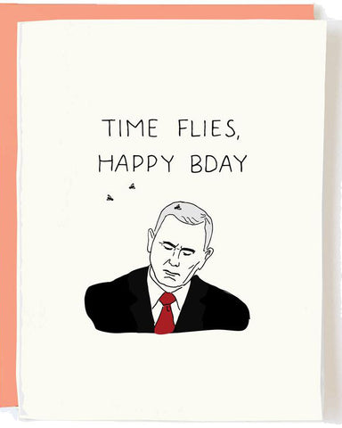 Pence Time Flies Birthday Greeting Card