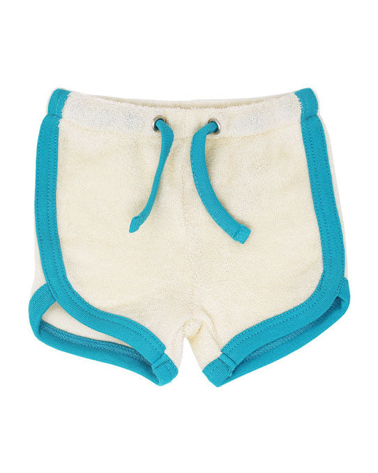 L'ovedbaby Organic Terry Cloth Track Shorts- Teal