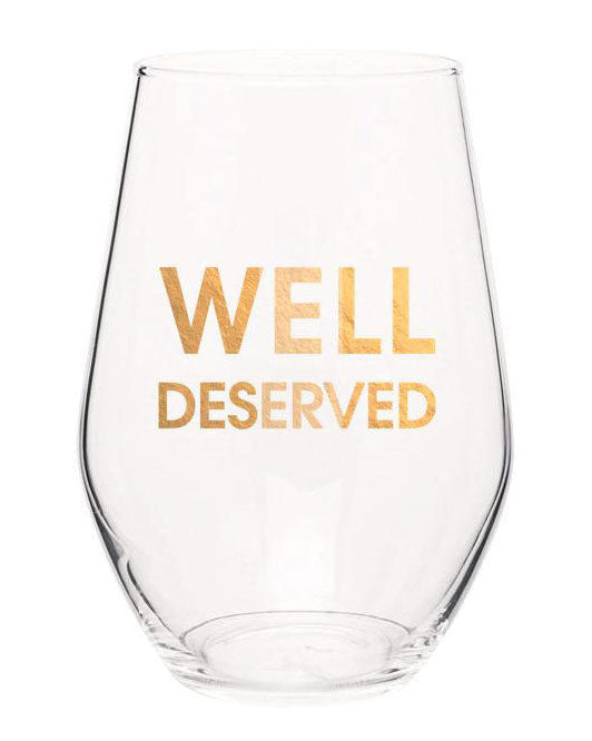 Well Deserved Gold Foil Stemless Wine Glass