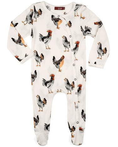 Milkbarn Organic Cotton Chicken Footed Romper