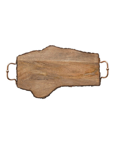 Acacia Live Edge Wood Serving Tray with Copper Handles