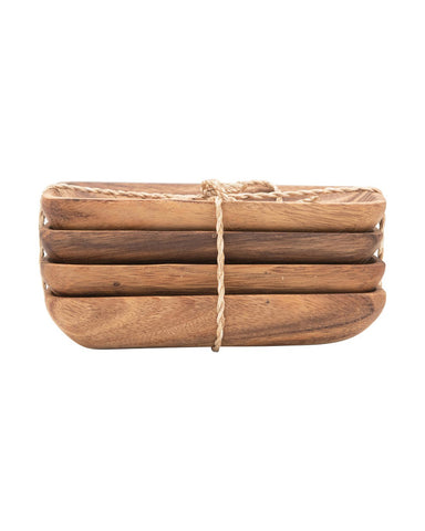 Acacia Wood Dish Trays Set of 4