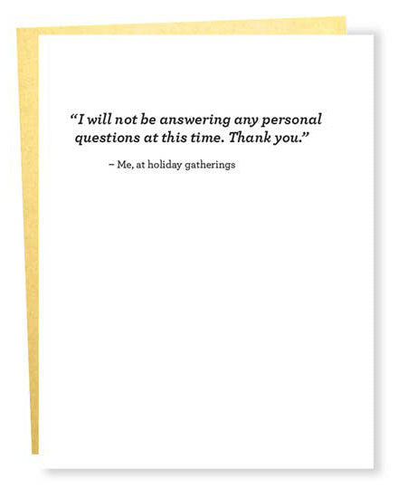 Personal Questions Christmas Greeting Card