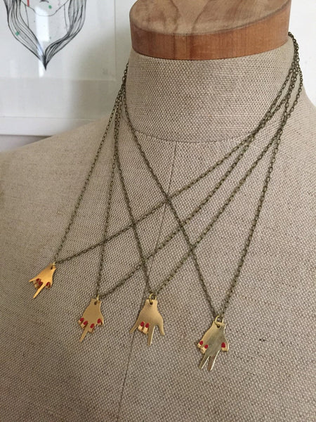 Hand Gesture Brass Necklace