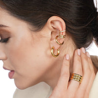 Cecile Thick Small Gold Hoop Earrings