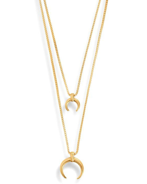 Jagger Double Layer Crescent Gold Necklace