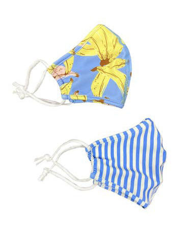Kid Face Mask Set of 2- Bananas & Blue Stripes