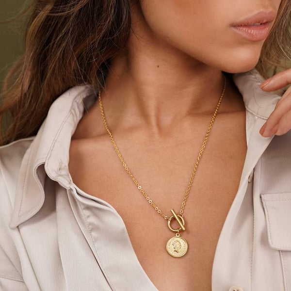 Lizzie Coin Toggle Gold Necklace