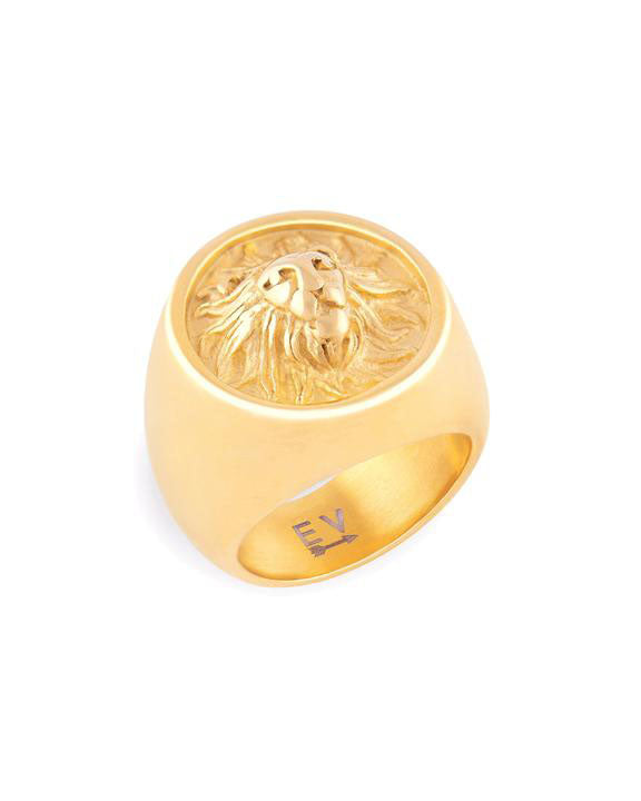 Tara Lion Signet Gold Ring