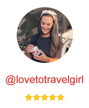 influencer @lovetotravelgirl rates the product 5 stars