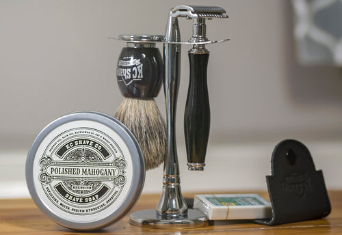 Bruno 4pc Safety Razor Set w/ Polished Resin Handle, by KC Shave Co.