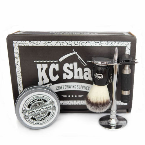 Jacob 4pc Safety Razor Set w/ Satin Black Handle, by KC Shave Co.