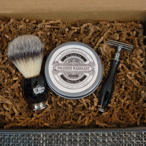 Noah 4pc Safety Razor Set w/ Black Resin Handle, by KC Shave Co.