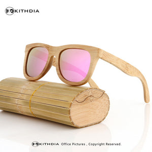 Real Bamboo Sunglasses w/ Travel Case