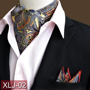 Men's Paisley Ascot w/ Pocket Square Set
