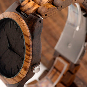 Wood Watch w/ Zebra Wood Case & Ebony Bamboo Face