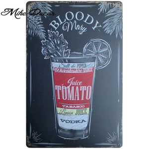 Tin Signs - Variety of Classic Cocktails