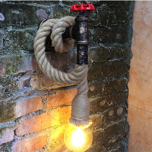 Industrial Iron Faucet & Rope Wall Light