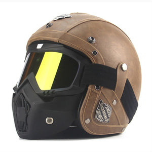 Retro Leather Motorcycle Helmet - w/ Full Face Option