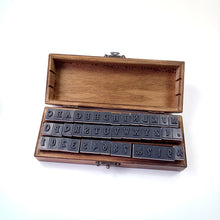 Vintage Wood Alphabet Rubber Stamp Set - 42pc Capital Letters & Numbers