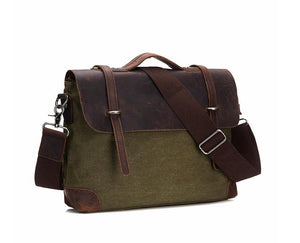 Leather & Canvas Messenger Bag