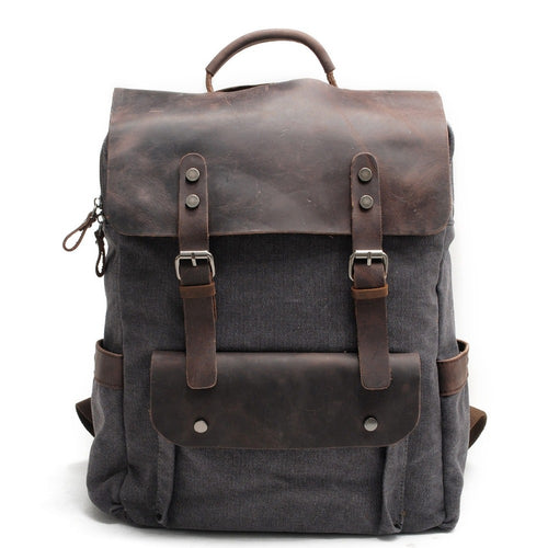 Distressed Canvas & Leather Backpack