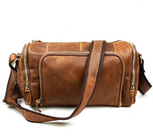 Genuine Leather Cowhide Travel Bag - Small