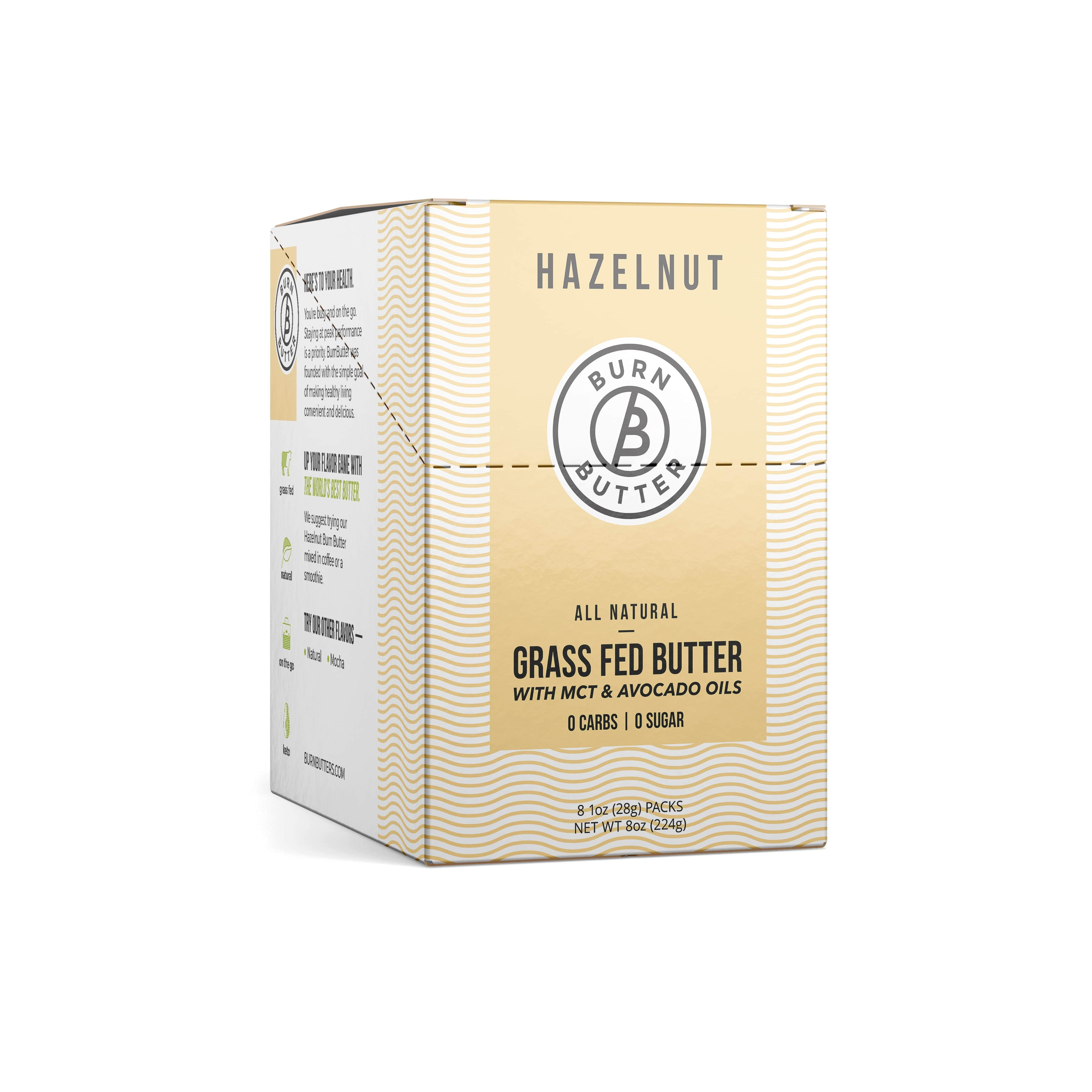 Burn Butter™ - Hazelnut Grass Fed Butter - 1 Box (8 Pouches)
