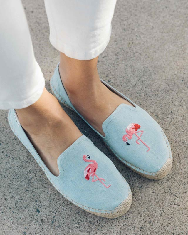 Flamingo Embroidered Espadrille in Blue. - size 7 (also in 10,5,5.5,6,6.5,7.5,8,8.5,9,9.5) Soludos