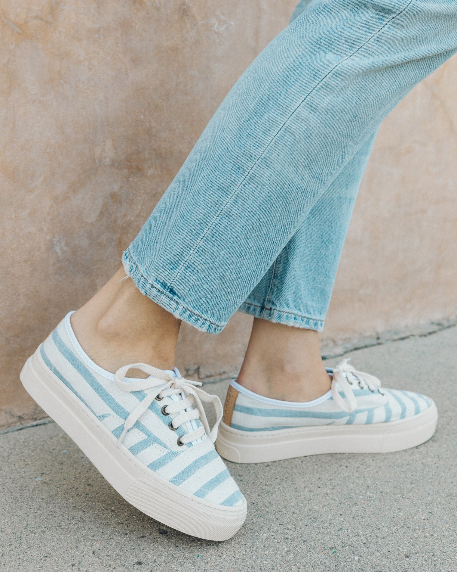 Platform Stripe Sneaker in Blue. - size 6 (also in 10,5,5.5,6.5,7,7.5,8,8.5,9,9.5) Soludos